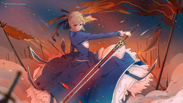 Обои Saber с мечем на поле боя, аниме Fate Stay Night / Судьба Ночь Схватки, art by Xi Chen Chen