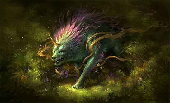 Обои Хищный зверь с рогом во лбу, art by sandara