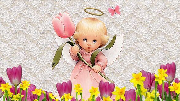 Обои Ангел, держащий розовый тюльпан
