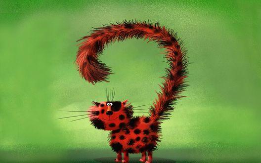 Обои Пятнистый, красный кот на зеленом фоне