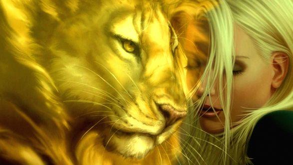 Обои Лев и красивая девушка