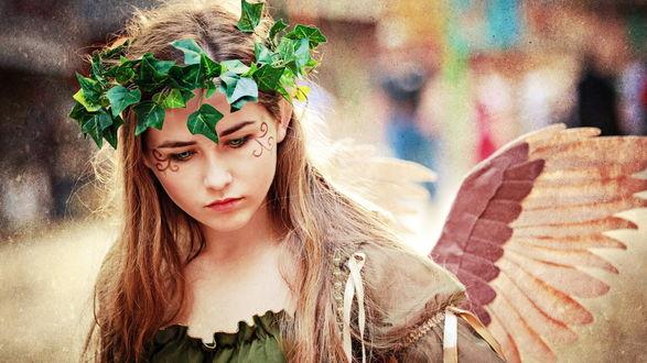 Обои Девушка с крыльями и венком на голове