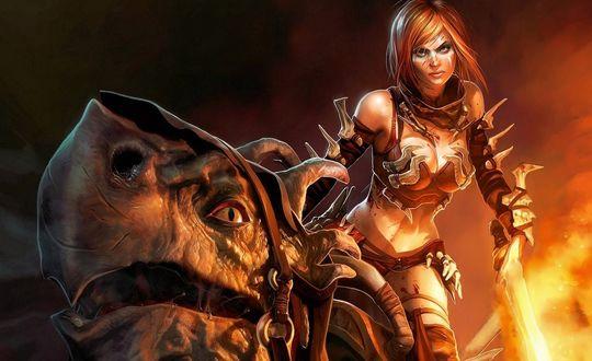 Обои Девушка с горящим мечом и дракон, из серии приставочных игр Золотая Секира / Golden Axe