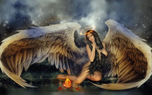Обои Девушка - ангел с огненным ореолом над головой, by shiny-shadows-Art