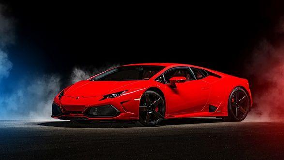 Обои Автомобиль Ламборгини, Хуракан красного цвета на черно-синем фоне