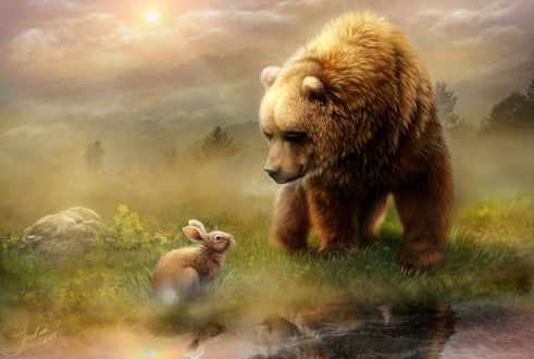 Обои Встреча медведя и кролика у ручья