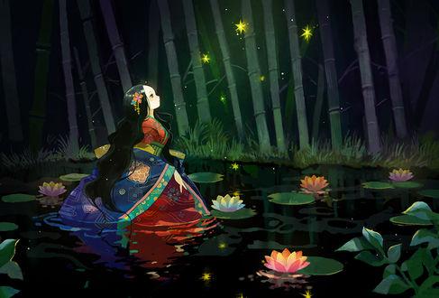 Обои Девушка, одетая в кимоно, смотрит на огоньки, стоя в пруду