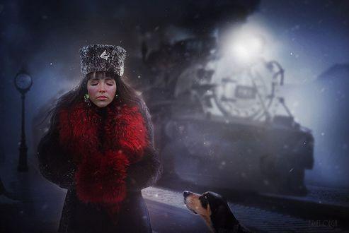 Обои Пес смотрит на замерзшую девушку, одетую в шапку, пальто с меховым воротником и спрятавшую руки в меховую муфточку, by brietolga
