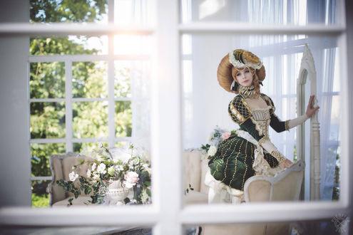 Обои Девушка в пышном платье возле окна