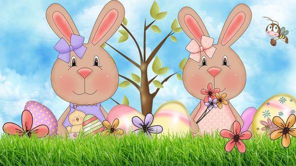 Обои Пасхальный зайчик яйцо, цветочек, пчелка