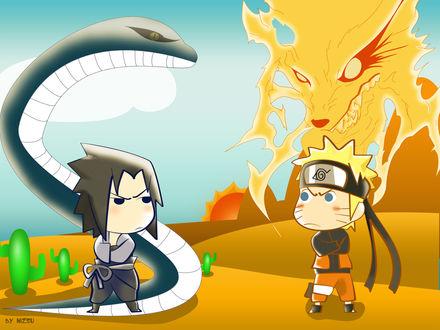 Обои Sasuke Uchiha и Наруто Узумаки / Naruto Uzumaki выясняют отношения из аниме Наруто / Naruto