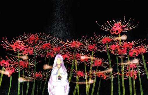 Обои Девушка молится на фоне ликорисов, вокруг парят духи