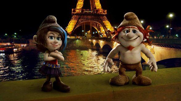 Обои Персонажи мультфильма Смурфики 2 гномы, набережная Парижа
