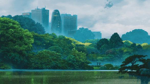 Обои Люди под зонтами идут по мосту, арт по аниме Сад слов / Kotonoha no Niwa