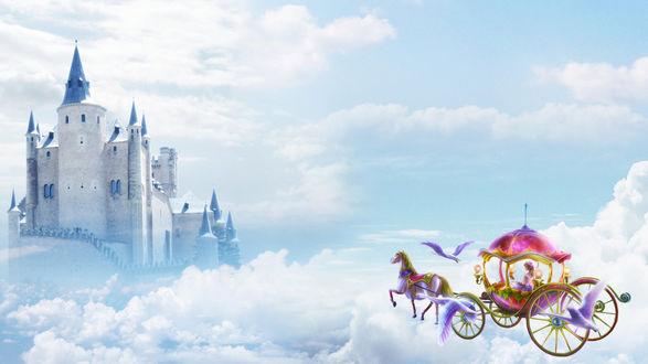 Обои Направляющаяся в замок карета, с летящим перед ней лебедем