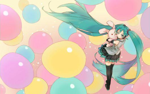 Обои Вокалоида Хатсуне Мику / Vocaloid Hatsune Miku с игрушечным зайцем в окружении разноцветных воздушных шаров