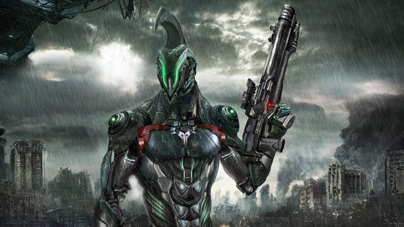 Обои Фантастический робот с оружием