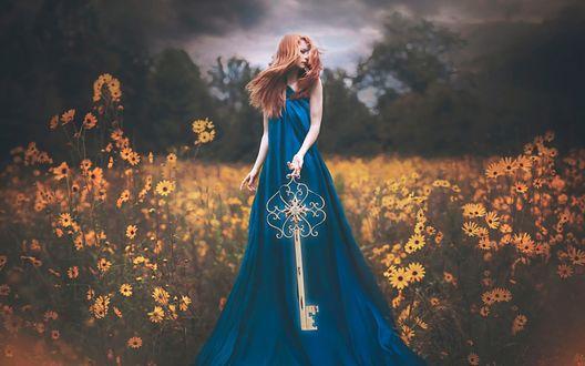 Обои Рыжеволосая девушка стоит на поляне среди желтых цветов с большим ключом