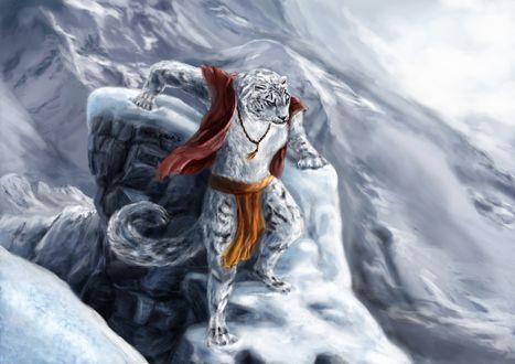 Обои Un leopardo de las nieves en un mundo de fantasa / Волшебный леопард в горах