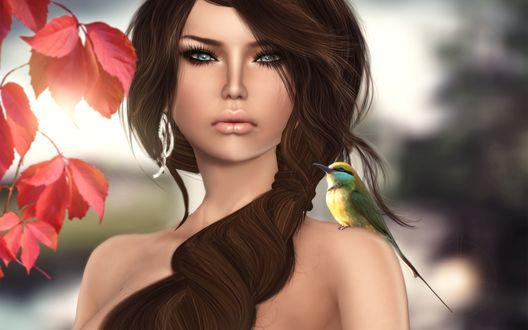 Обои Девушка с птицей на плече
