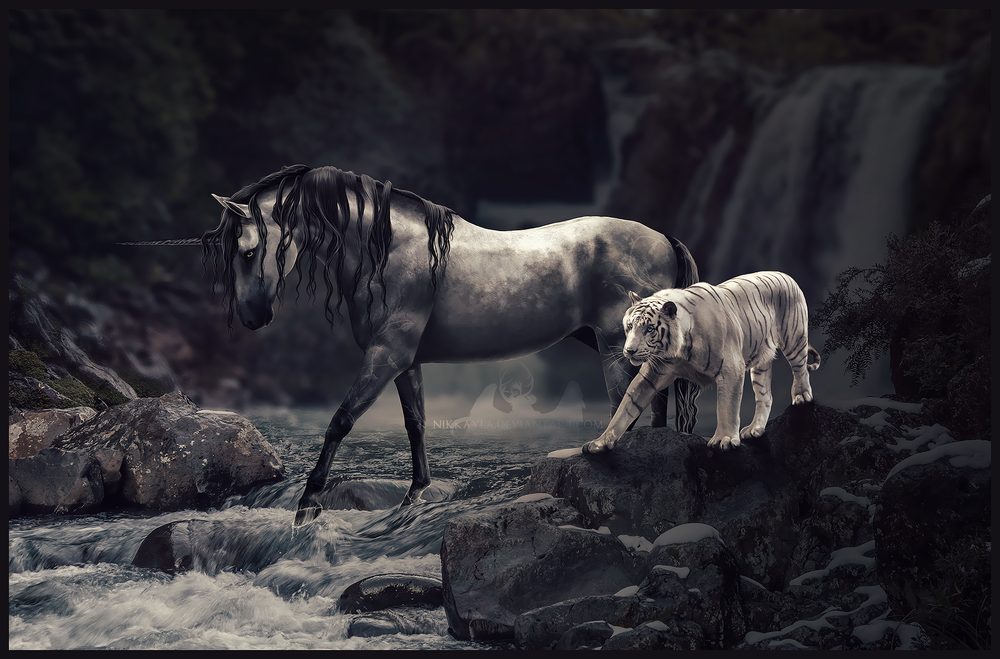 Обои для рабочего стола Единорог и тигр на природе, by Nikkayla
