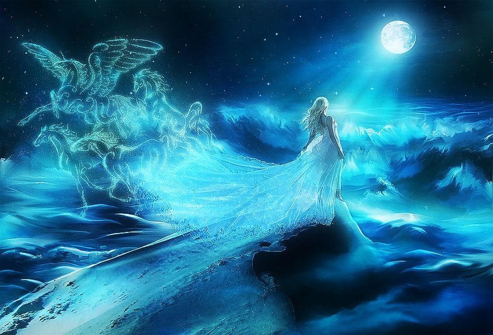 Обои для рабочего стола Девушка на гребне волны, плывет на встречу полной луне, из подола платья призрачные кони