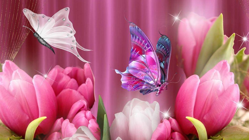Войск связи, открытка с тюльпанами и бабочками