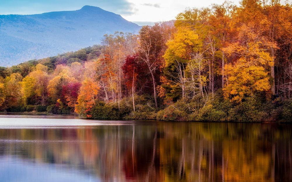 Обои для рабочего стола Спокойная поверхность озера, вдоль берега которого растут деревья покрытые желтыми и красными листьями, вдали видны горы