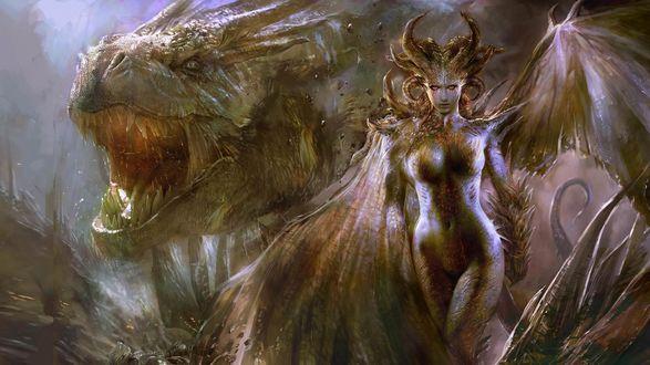 Обои Девушка и дракон