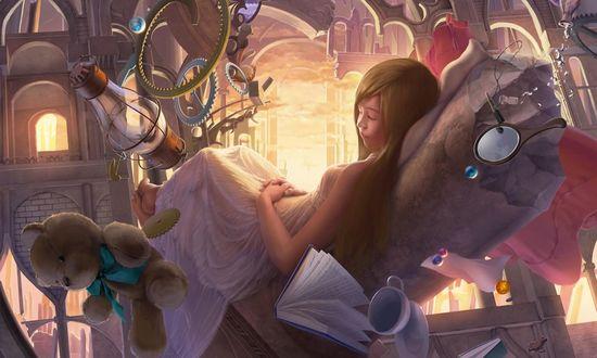 Обои Рыжеволосая девушка в белом платье лежит на кресле и видит сон на фоне летающих предметов
