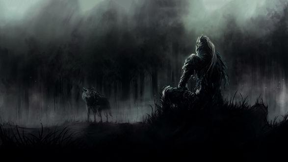 Обои Арториас путник Бездны и Сиф Великий Волк смотрят друг на друга, игра Dark Souls / Темные души