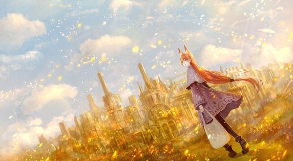 Обои Девушка-лисичка стоит у входа в сказочный город, art by bounin