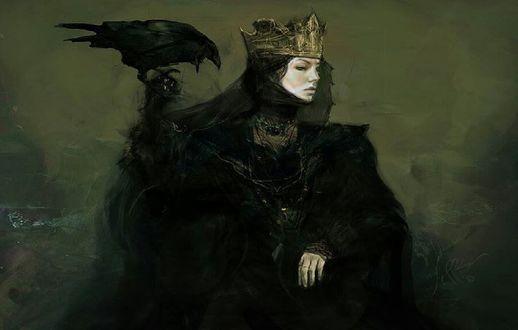 Обои Девушка в короне с вороном на руке, художник Jeff Simpson