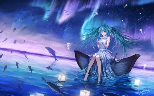 Обои Vocaloid Hatsune Miku / Вокалоид Хатсуне Мику сидит на краю лодки в окружении летящих рыб и медуз