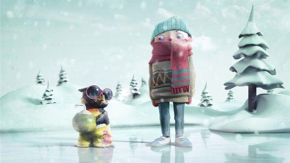 Обои Мальчик с попугаем на зимней прогулке