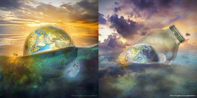 Обои Планеты и фонарь в воде, банка с планетами и фонарем в воде, ву Evenliu PhotoArt