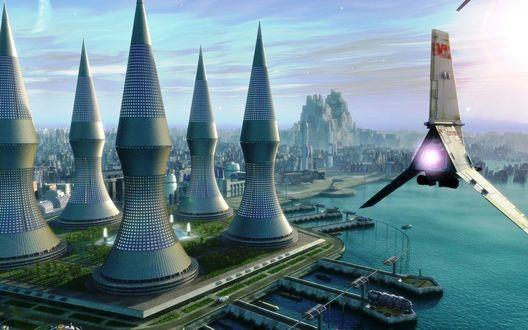 Обои Фантастическое будущее, панорама города