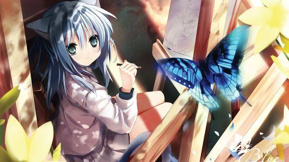 Обои Аниме рисунок, девушка с ушками на голове, сидит перед мольбертом, держит в руке кисть для рисования, смотрит на бабочку, автор Blue