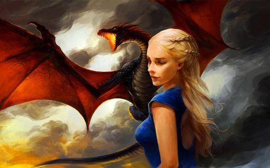 Обои Рисунок Дейенерис Таргариен / Daenerys Targaryen из сериала Игра престолов / Game of Thrones в исполнении актрисы Emilia Clarke / Эмилии Кларк