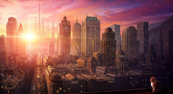 Обои Город, утро, восход солнца