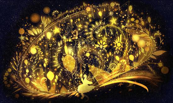 Обои Девушка смотрит на золотую звезду, art by bounin