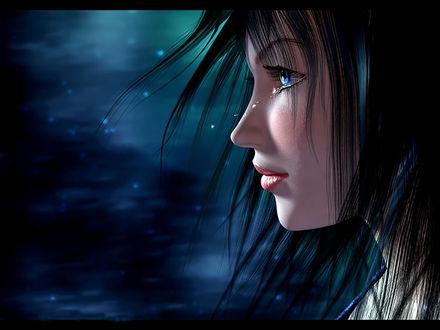 Обои В свете луны несколько слезинок-бриллиантиков скатились из глаз красивой девушки, художница Маргарита Шешукова