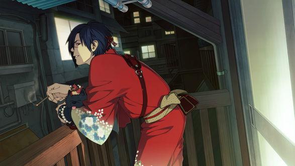 Обои Koujaku с Ren стоит на балконе и курит сигарету, аниме DRAMAtical murder / Драматическое убийство, art by Hoyarara