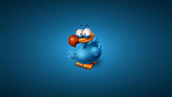 Обои Смешная голубая утка на синем фоне