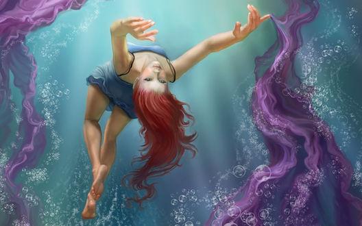 Обои Кульбит в воде от рыжеволосой бестии, art Bobbie Jean