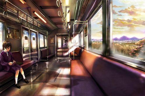 Обои Девушка сидит в пустом вагоне, за окном красивый вид