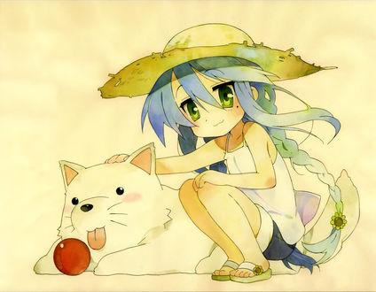 Обои Рисунок девушки и собаки, девушка держит руку на спине собаки
