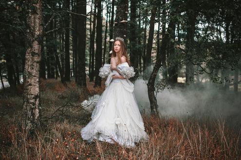 Обои Модель AlexandraCameron в белом платье стоит по среди леса