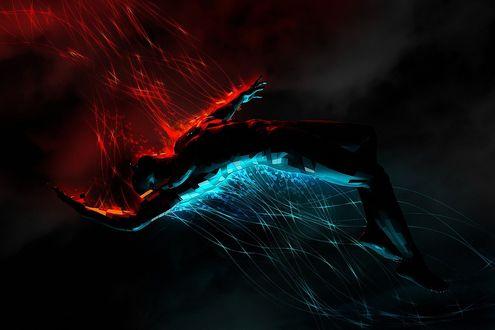 Обои Парящий в воздухе мужчина, с красной подсветкой сверху и голубой подсветкой снизу, игры Огня и Воды