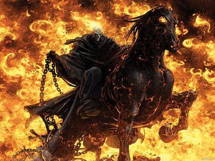 Обои Всадник Смерть горящий в огне